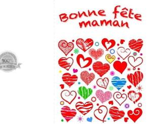 Carte fête des mères cœurs graffitis