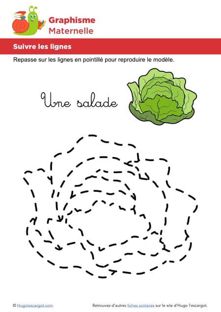 Suivre les lignes pour dessiner une salade - Dessiner une oie ...
