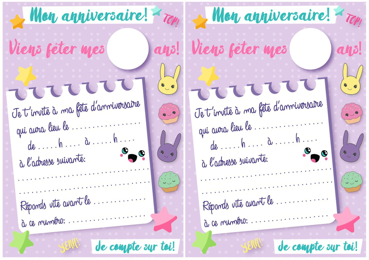 Carte D Invitation D Anniversaire Theme Kawaii