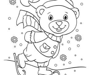 Petit ourson patine sur le lac gelé