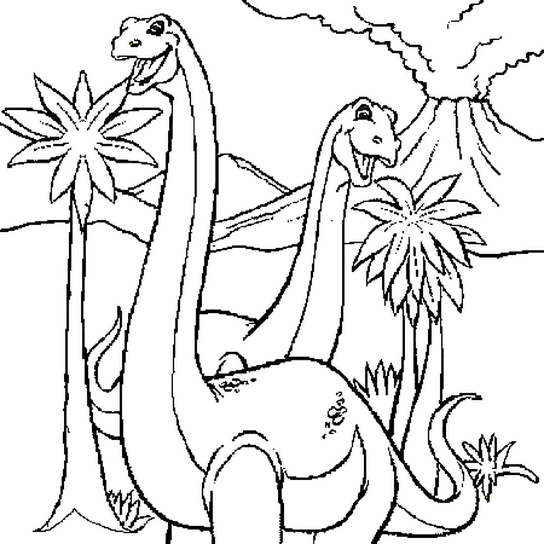 Coloriage Diplodocus Et Eruption Volcan En Ligne Gratuit A Imprimer