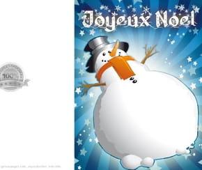 Carte joyeux Noël bonhomme de neige