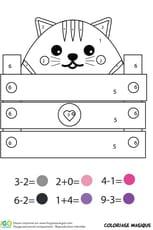 Coloriage magique CP: un chaton dans une caisse