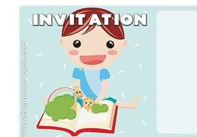 Carte invitation anniversaire garçon bleu