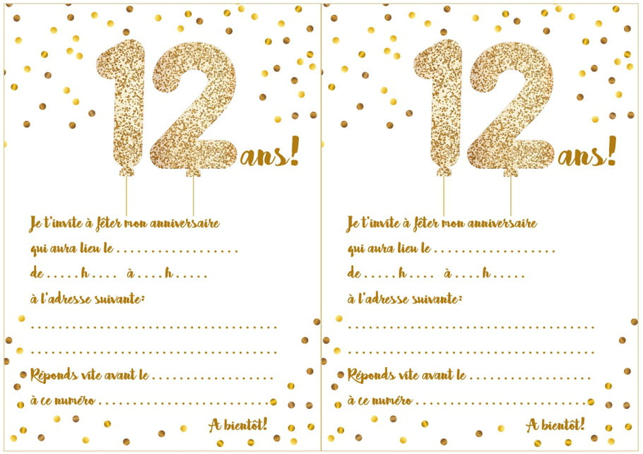 carte d 39 invitation d 39 anniversaire 12 ans. Black Bedroom Furniture Sets. Home Design Ideas