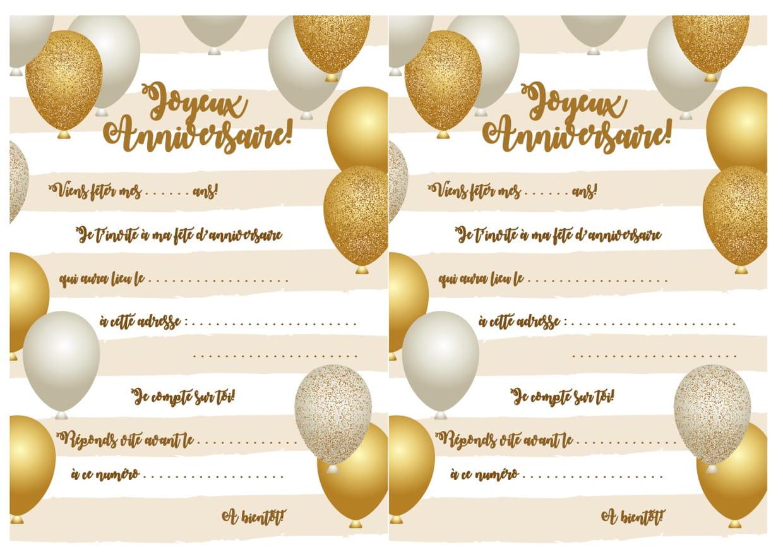 Carte D Invitation D Anniversaire Theme Des Ballons