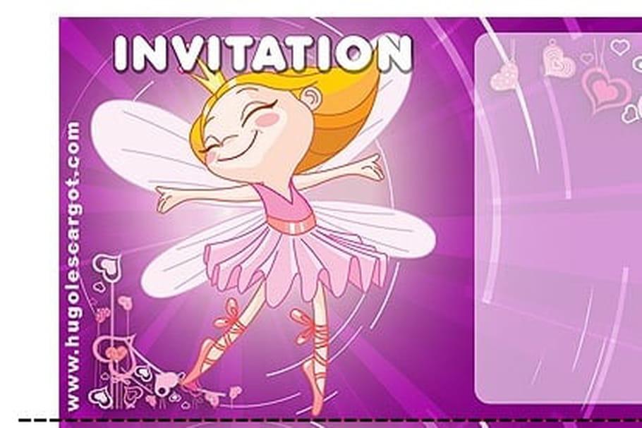 Carte Invitation Anniversaire Fee Violette