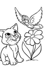 Coloriage Chaton et Oiseau en Ligne Gratuit à imprimer