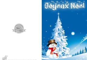 Carte de Noël bonhomme de neige