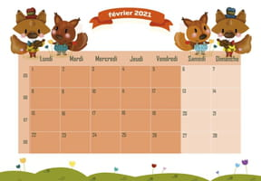 Les animaux : calendrier 2021