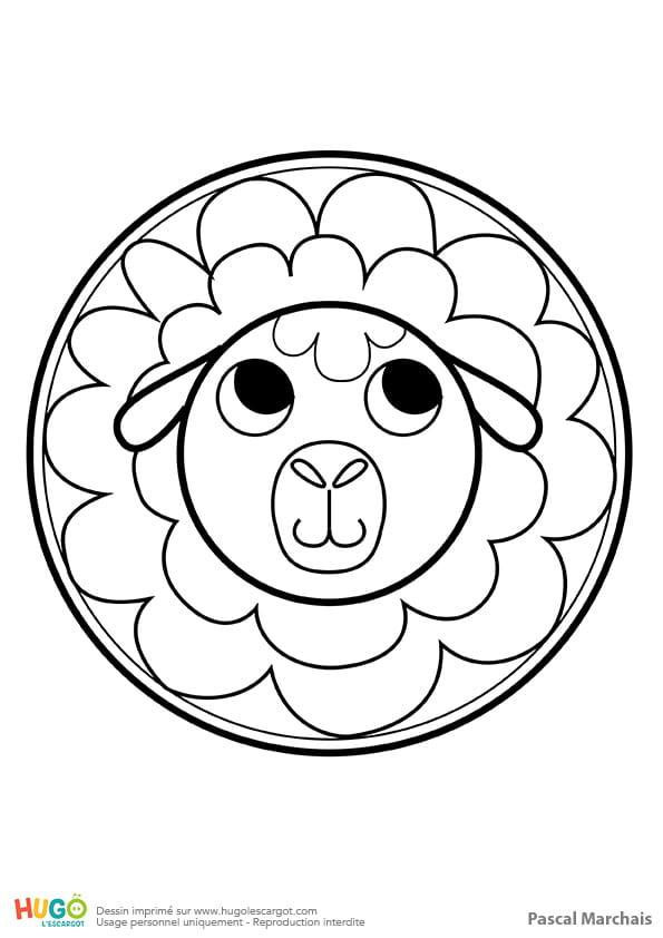Mandala mouton, pour les petits