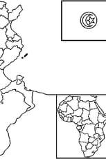 Coloriage carte Tunisie