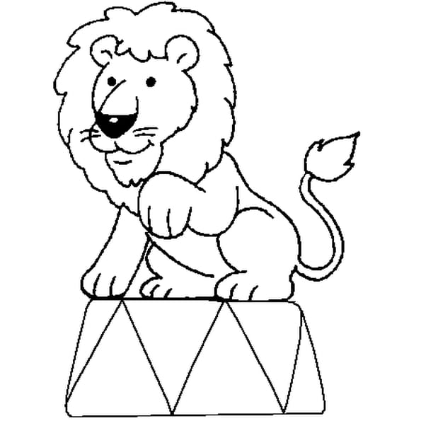 Coloriage Lion Cirque en Ligne Gratuit à imprimer