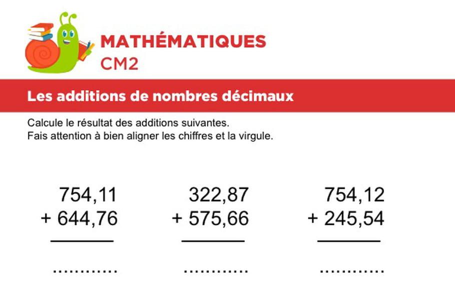 Additions de nombres décimaux niveau 1, exercice 3