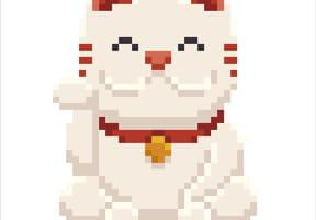 Maneki-neko chat porte-bonheur en pixel art