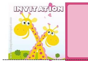 Carte invitation anniversaire girafes amoureuses