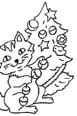 Coloriage Chat de Noël en Ligne Gratuit à imprimer