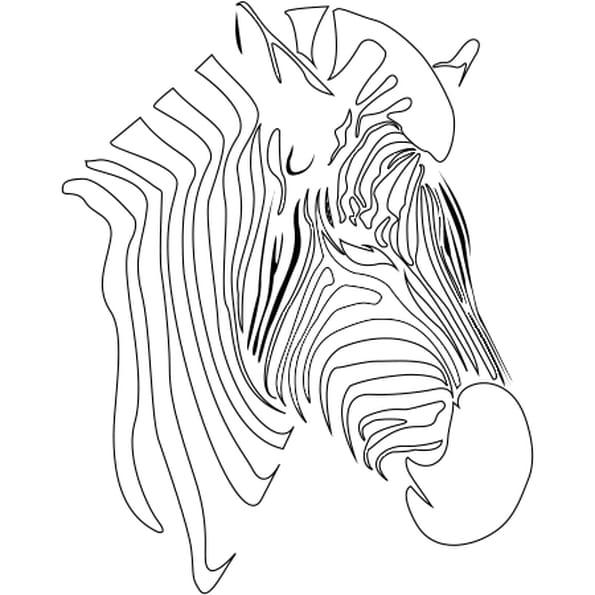 Dessin silhouette zèbre a colorier