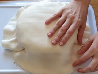 Étape 6: placez la pâte à sucre blanche sur le gâteau