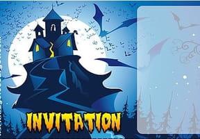 Carte invitation Halloween château hanté