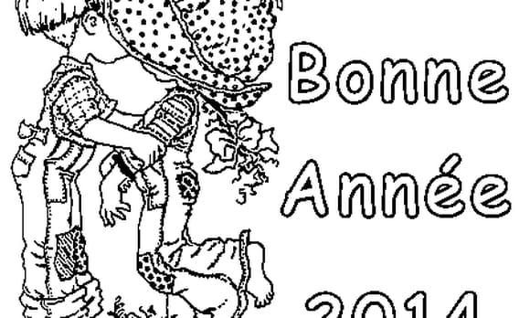 Dessin Bonne Année 2014 a colorier