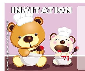 Carte invitation anniversaire oursons cuisiniers