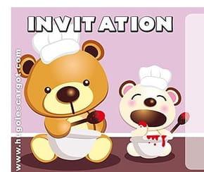 Carte invitation anniversaire oursons cuisiniers