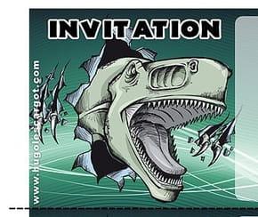 Carte invitation anniversaire tyranosaure