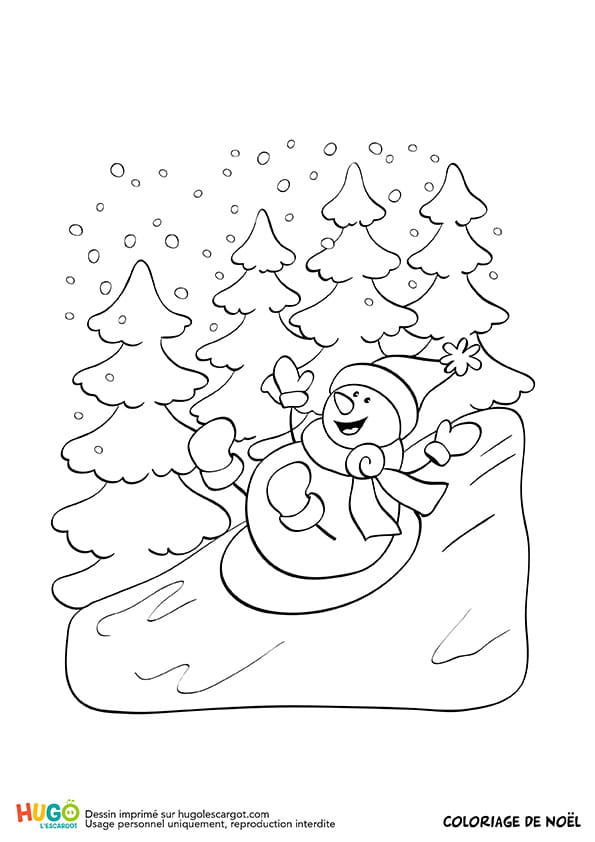 Le bonhomme de neige fait de la luge