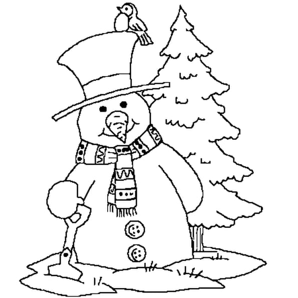 Coloriage Bonhomme De Neige Noël En Ligne Gratuit à Imprimer