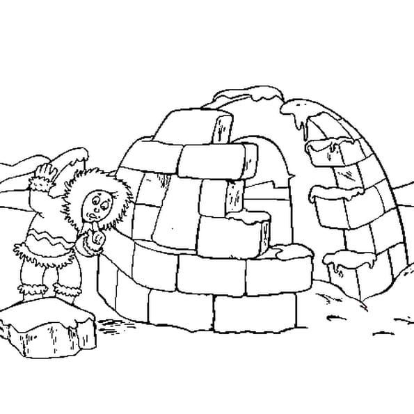 Dessin Igloo a colorier