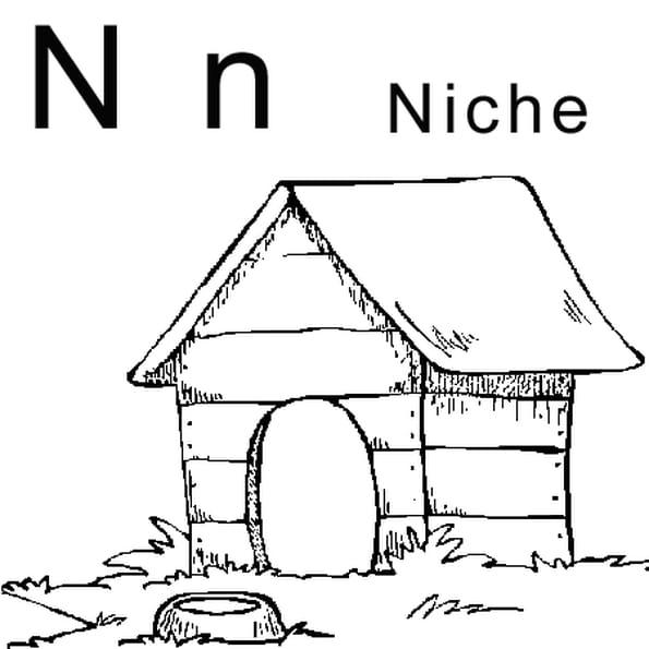 Dessin lettre N comme niche a colorier