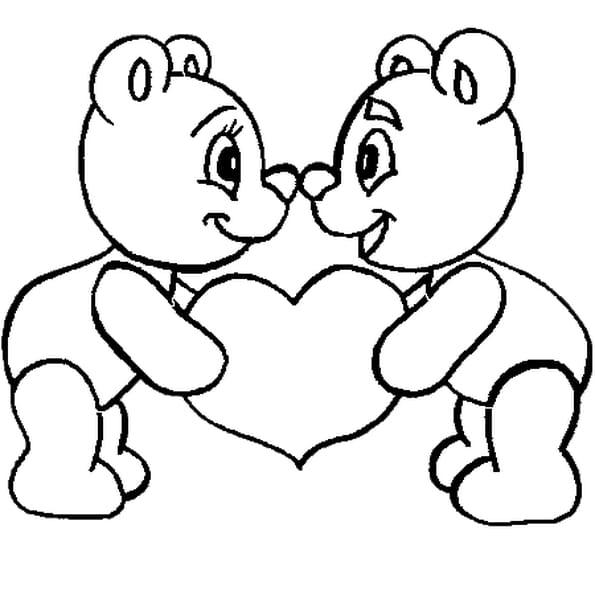 Coloriage st valentin en ligne gratuit imprimer - Ours a dessiner ...