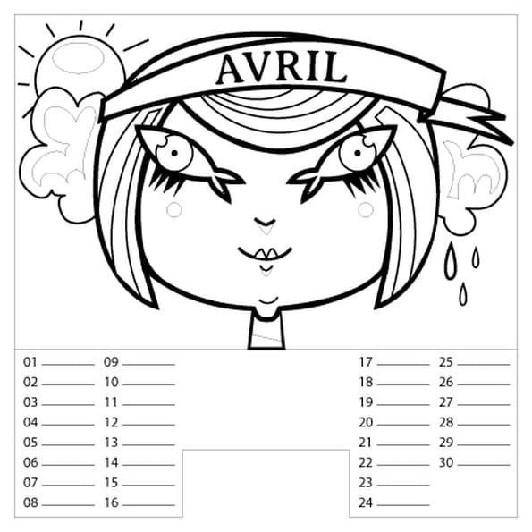 Coloriage Calendrier Avril en Ligne Gratuit à imprimer