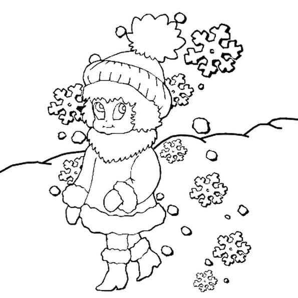 Dessin flocon de neige a colorier