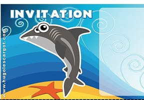 Carte invitation anniversaire requin