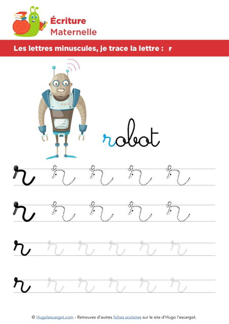 Les lettres minuscules, je trace la lettre r