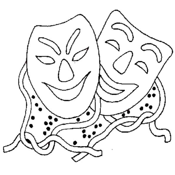Dessin masque de carnaval a colorier
