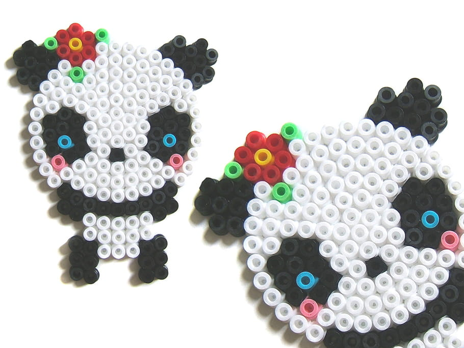Panda kawai en perles repasser - Model perle a repasser ...