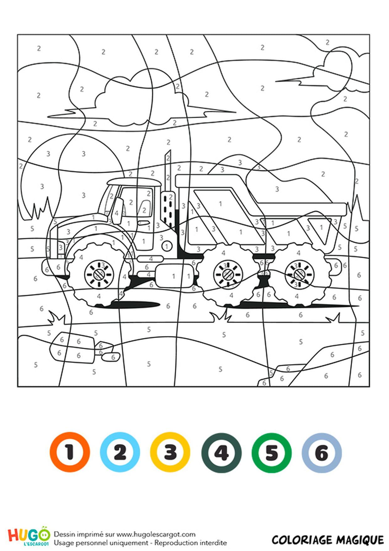 Coloriage magique CE32  un camion benne