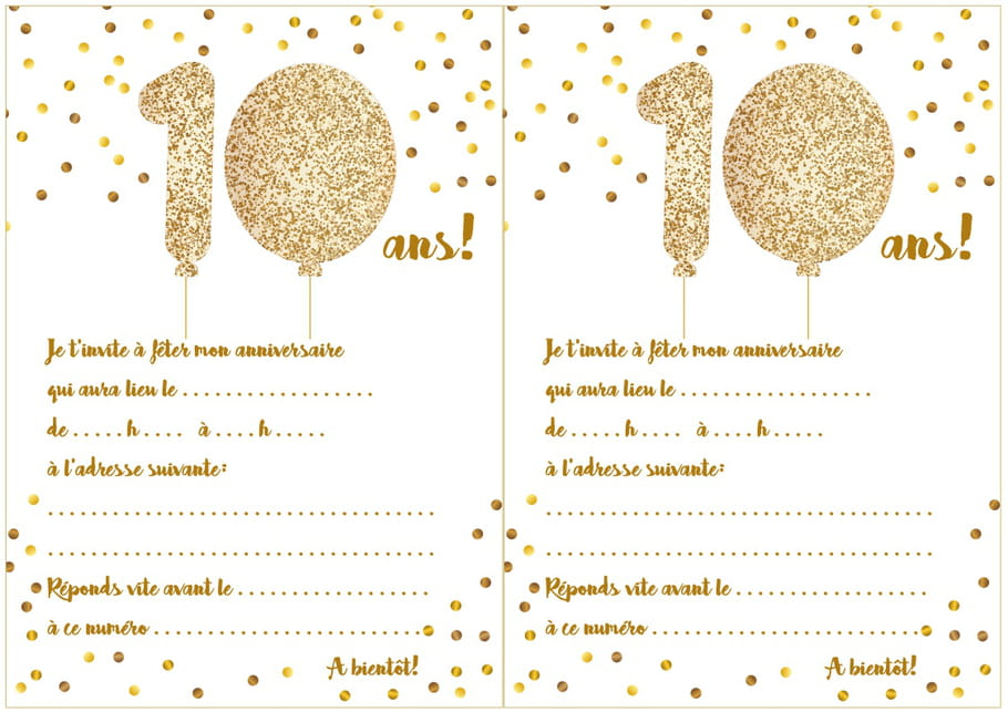 carte d 39 invitation d 39 anniversaire 10 ans. Black Bedroom Furniture Sets. Home Design Ideas
