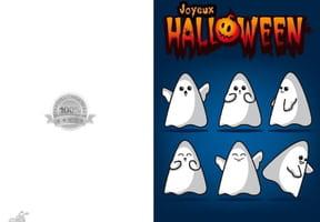 Carte joyeux Halloween fantômes