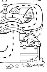 Coloriage géant du jeu de la route numéro8