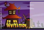 Carte invitation Halloween manoir hanté