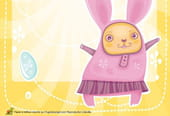 Carte lapin de Pâques rose