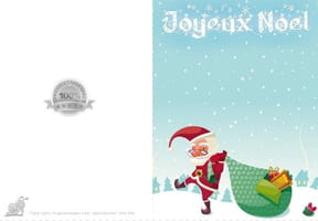 Carte de vœux Père Noël et son sac
