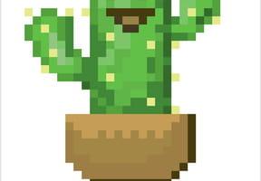 Cactus en pot en pixel art
