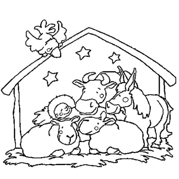 Dessin La crèche de Noël a colorier