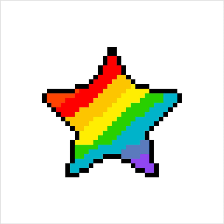 étoile Arc En Ciel En Pixel Art