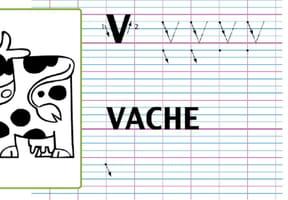 Lettre alphabet V, apprendre à écrire